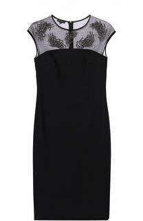 Приталенное платье-миди с полупрозрачной вставкой Escada