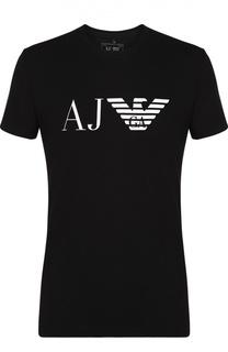 Хлопковая футболка с контрастным принтом Armani Jeans