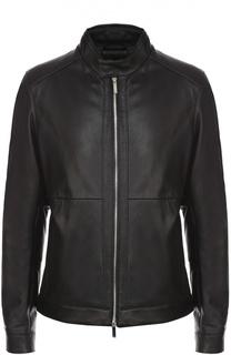 Кожаная куртка на молнии с воротником-стойкой BOSS