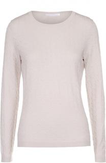 Вязаный пуловер с круглым вырезом и фактурной отделкой HUGO