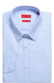 Хлопковая приталенная сорочка с воротником кент HUGO