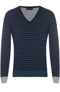 Пуловер из смеси шерсти и кашемира с контрастной отделкой Daniele Fiesoli