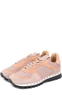 Комбинированные кроссовки Studded с заклепками Valentino