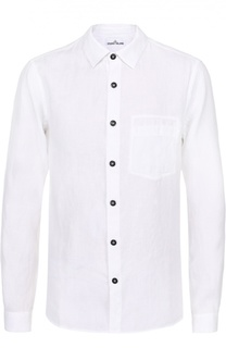 Льняная рубашка с воротником кент Stone Island