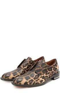 Кожаные ботинки без шнуровки с рисунком под леопарда Givenchy