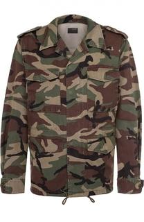 Хлопковая куртка на молнии с камуфляжным принтом и нашивкой на спине Saint Laurent