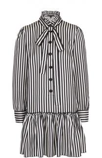 Мини-платье в полоску с воротником аскот и оборкой Marc Jacobs
