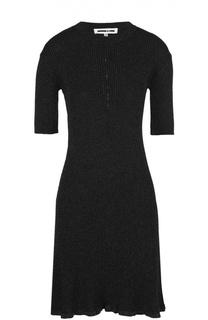 Вязаное мини-платье с коротким рукавом и металлизированной отделкой MCQ