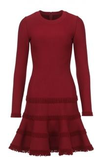 Приталенное мини-платье с длинным рукавом и фактурной отделкой Alaia