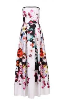 Приталенное платье-бюстье с цветочным принтом Elie Saab