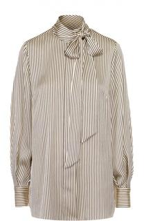 Блуза прямого кроя в полоску с воротником аскот By Malene Birger