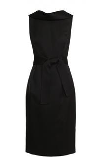 Приталенное платье-миди с поясом и открытой спиной Escada