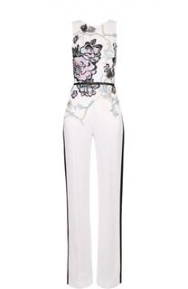 Приталенный комбинезон с цветочной вышивкой и контрастными лампасами Elie Saab