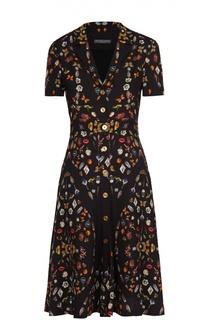 Приталенное платье с отложным воротником и ярким принтом Alexander McQueen