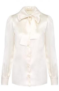 Шелковая блуза прямого кроя с воротником аскот Saint Laurent