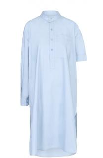 Хлопковое платье-рубашка асимметричного кроя с накладным карманом Balenciaga