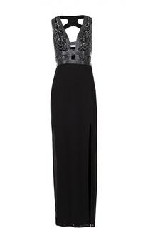 Платье в пол с контрастной вышивкой и высоким разрезом Basix Black Label