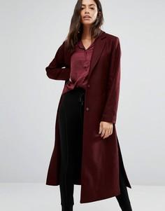 Пальто макси с разрезами по бокам New Look - Красный