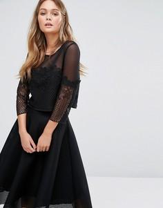 Укороченный топ из сеточки и кружева New Look - Черный