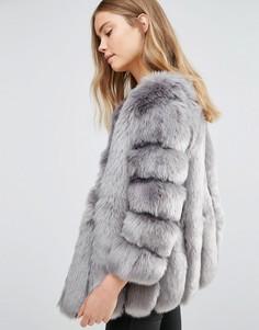 Куртка из искусственного меха с полосатой отделкой Jayley Luxurious - Серый