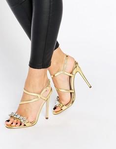 Босоножки на каблуке ASOS HAMBLEY - Золотой