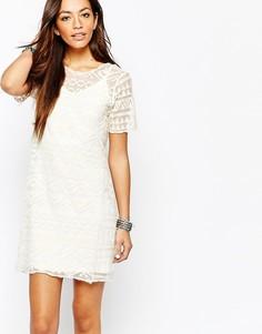 Цельнокройное платье с вышивкой New Look - Кремовый