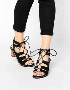 Замшевые сандалии‑гладиаторы на каблуке Park Lane - Черный