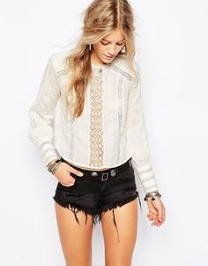 Прозрачная блузка в викторианском стиле Free People - Белый