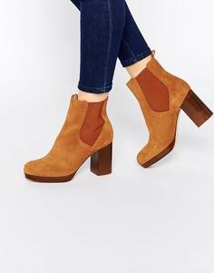 Замшевые ботинки челси на блочном каблуке New Look - Рыжий