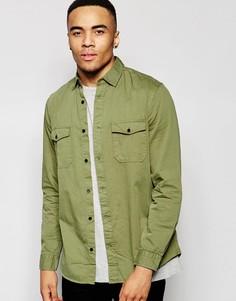 Классическая рубашка навыпуск из ткани в елочку в стиле милитари New Look - Зеленый