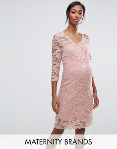 Кружевное облегающее платье с рукавами 3/4 Mamalicious - Розовый Mama.Licious