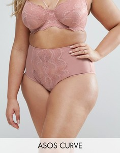 Трусики с высокой талий и кружевом ASOS CURVE Fan - Розовый