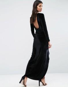 Бархатное платье макси со сборками Madam Rage - Черный