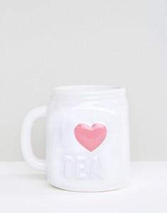 Кружка с надписью I Love Tea New Look - Stone