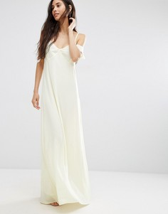 Oh My Love Frill Cold Shoulder Maxi Dress - Желтый