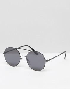 Круглые солнцезащитные очки с оправой из черного металла ASOS - Черный