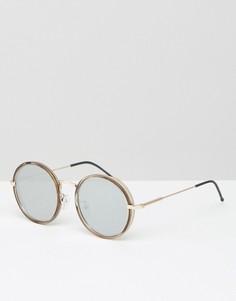 Круглые солнцезащитные очки с зеркальными линзами и козырьками по бокам ASOS - Зеленый
