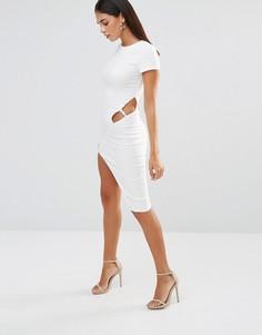 Платье с асимметричным вырезом Rare - Белый