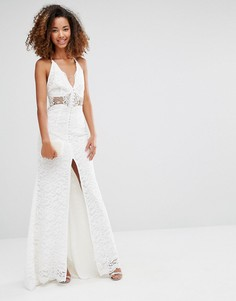 Jarlo Eden Maxi Dress With Crochet Insert And Front Split - Белый