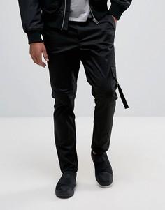 Черные зауженные брюки-карго с карманами и лентой ASOS - Черный