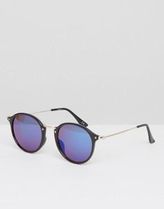 Круглые солнцезащитные очки с металлическими дужками и синими стеклами ASOS - Черный