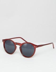 Бордовые солнцезащитные очки в круглой оправе ASOS - Красный