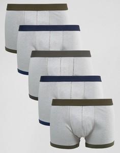 Комплект из 5 боксеров-брифов в рубчик с контрастной отделкой ASOS - Серый