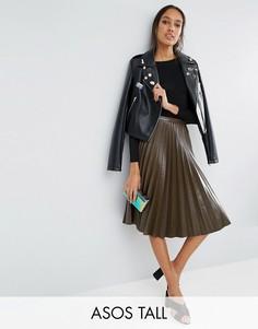 Плиссированная юбка миди из искусственной кожи ASOS TALL - Зеленый