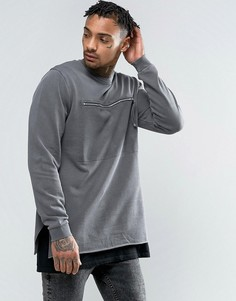 ASOS Longline Sweatshirt With Zip Chest Pocket - Серый