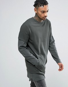 ASOS Super Longline Double Layer Sweatshirt With Side Zips - Серый