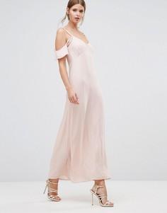 Платье макси с открытыми плечами и оборками Oh My Love - Розовый