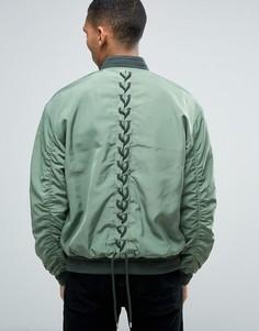 Куртка-пилот цвета хаки со шнуровкой сзади ASOS - Зеленый