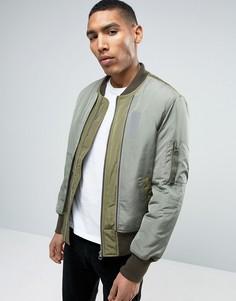 Куртка-пилот хаки с двойным дизайном спереди ASOS - Зеленый