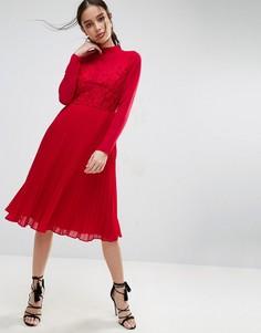 Плиссированное платье миди с высоким воротом ASOS - Красный